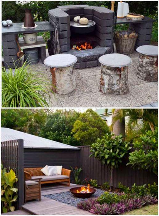 Зона для отдыха с мангалом. Фото: pinterest.com.